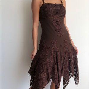 Sue Wong Nocturne Silk Embroidered Brown Dress